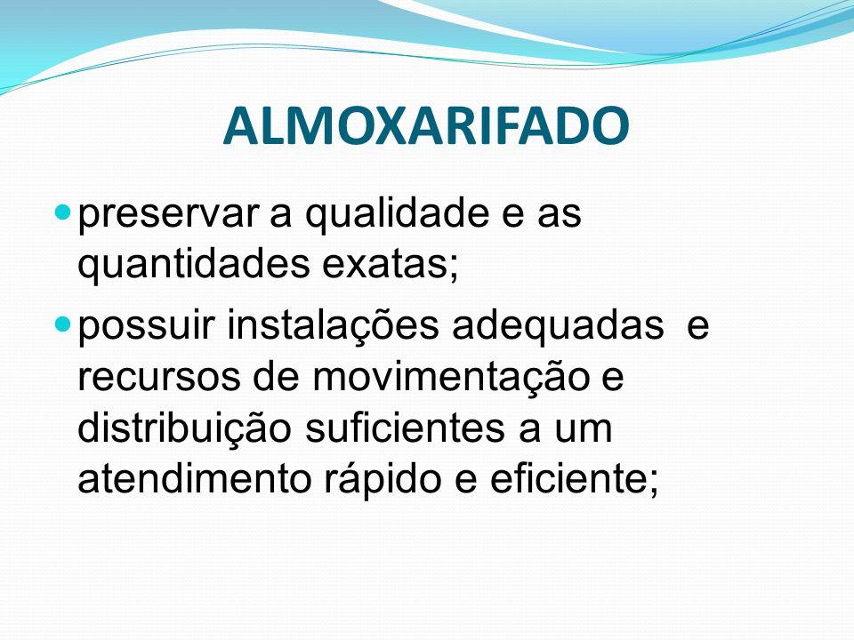 ALMOXARIFADO preservar a qualidade e as quantidades exatas;