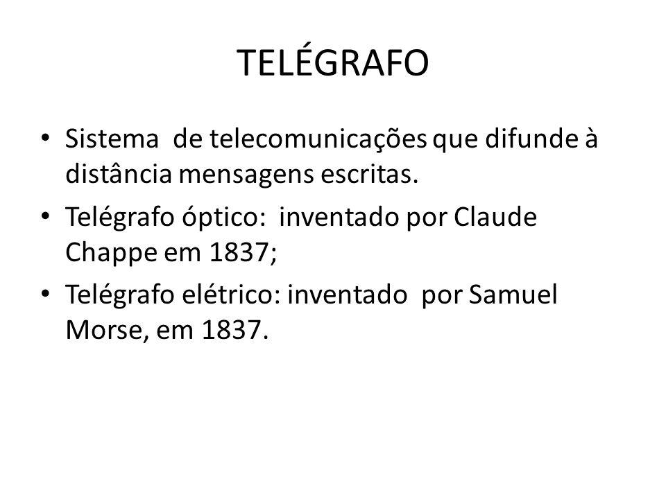 TELÉGRAFOSistema de telecomunicações que difunde à distância mensagens escritas. Telégrafo óptico: inventado por Claude Chappe em 1837;
