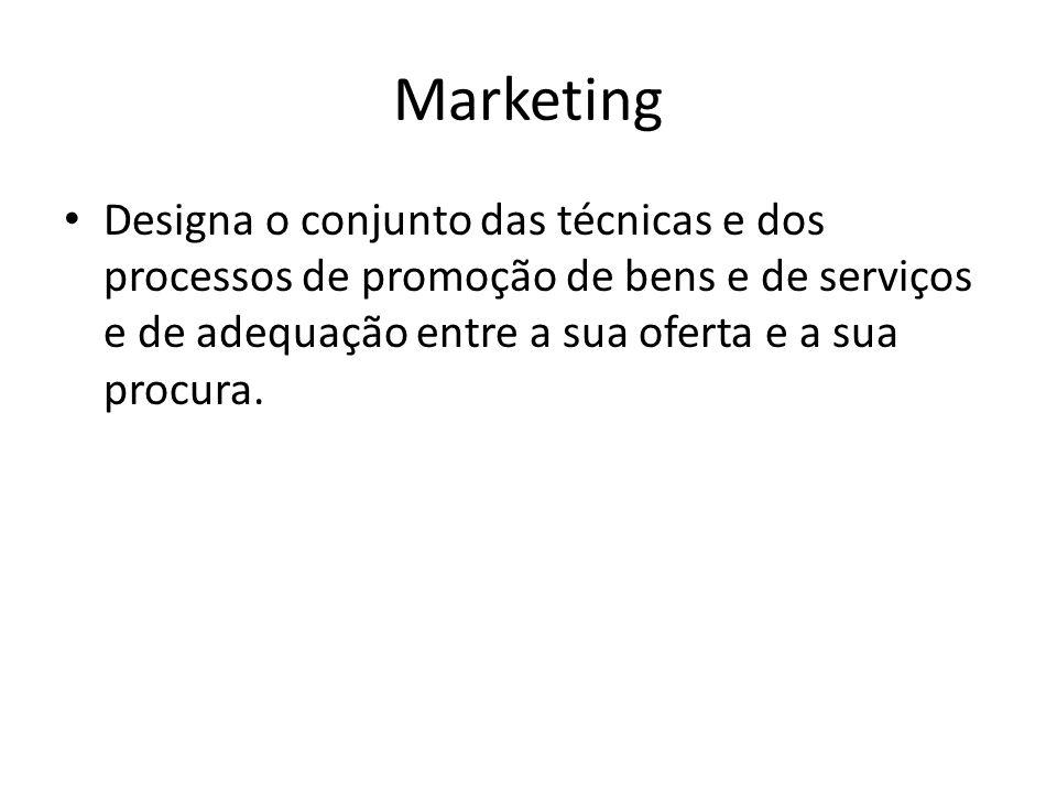 MarketingDesigna o conjunto das técnicas e dos processos de promoção de bens e de serviços e de adequação entre a sua oferta e a sua procura.