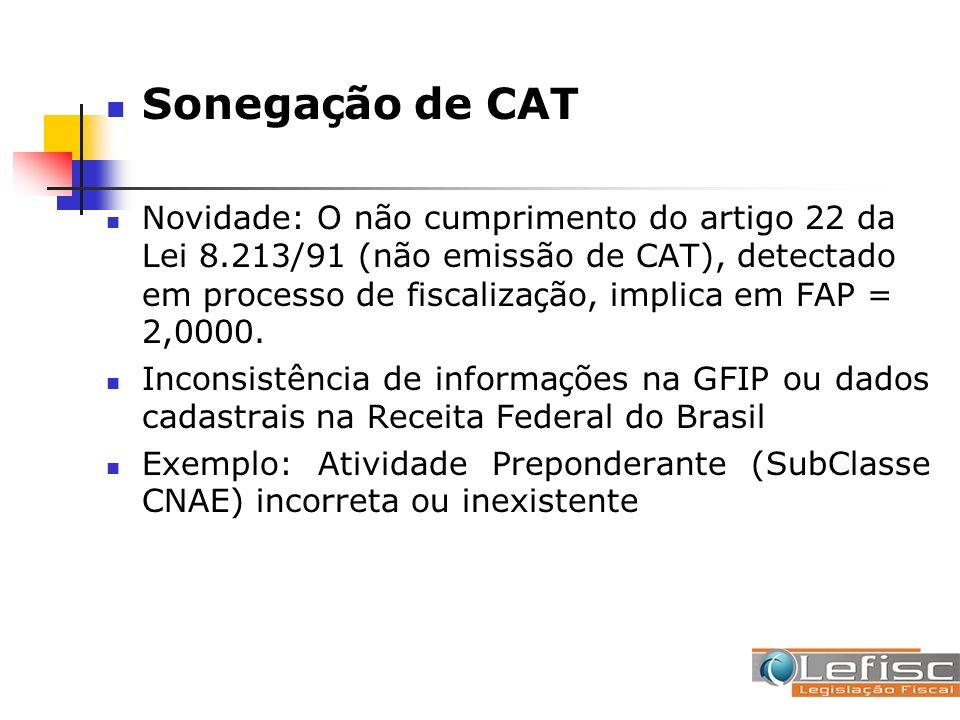 Sonegação de CAT