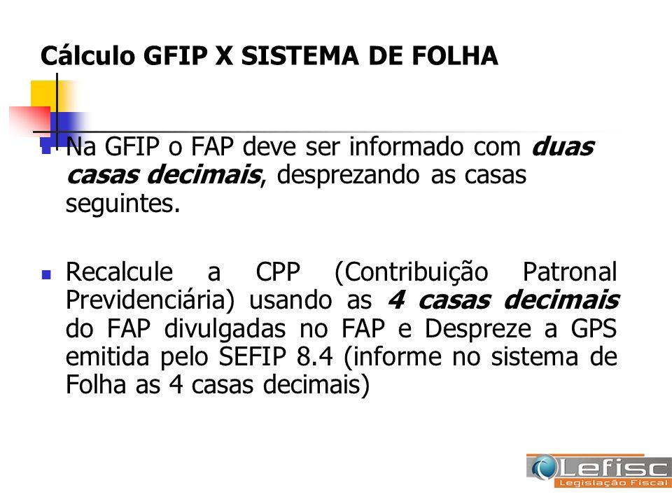 Cálculo GFIP X SISTEMA DE FOLHA