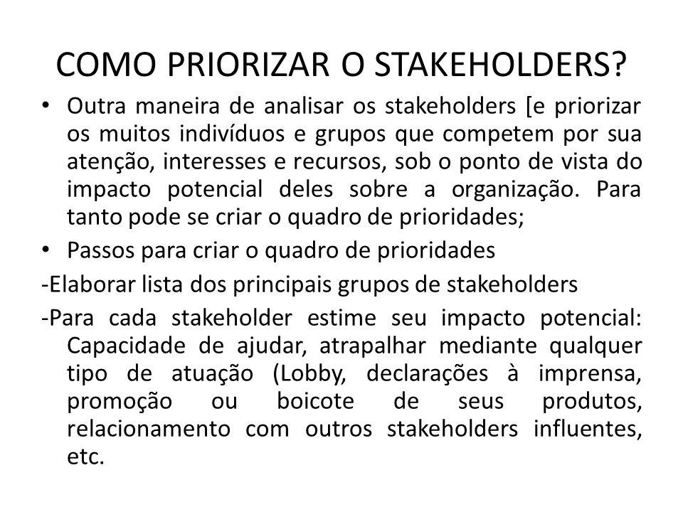 COMO PRIORIZAR O STAKEHOLDERS