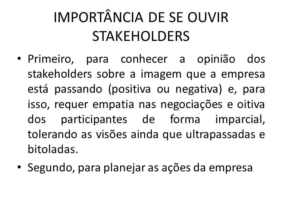 IMPORTÂNCIA DE SE OUVIR STAKEHOLDERS