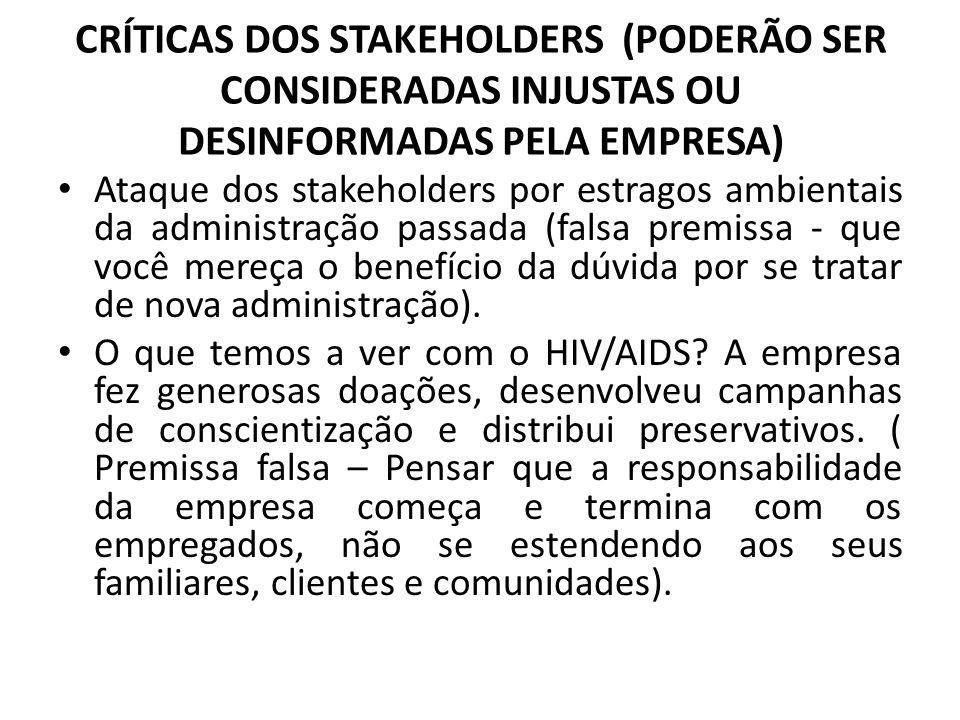 CRÍTICAS DOS STAKEHOLDERS (PODERÃO SER CONSIDERADAS INJUSTAS OU DESINFORMADAS PELA EMPRESA)