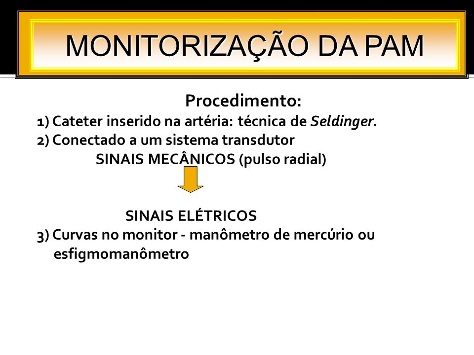 MONITORIZAÇÃO DA PAM Procedimento: