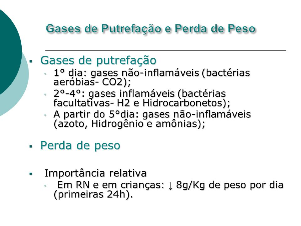 Gases de Putrefação e Perda de Peso