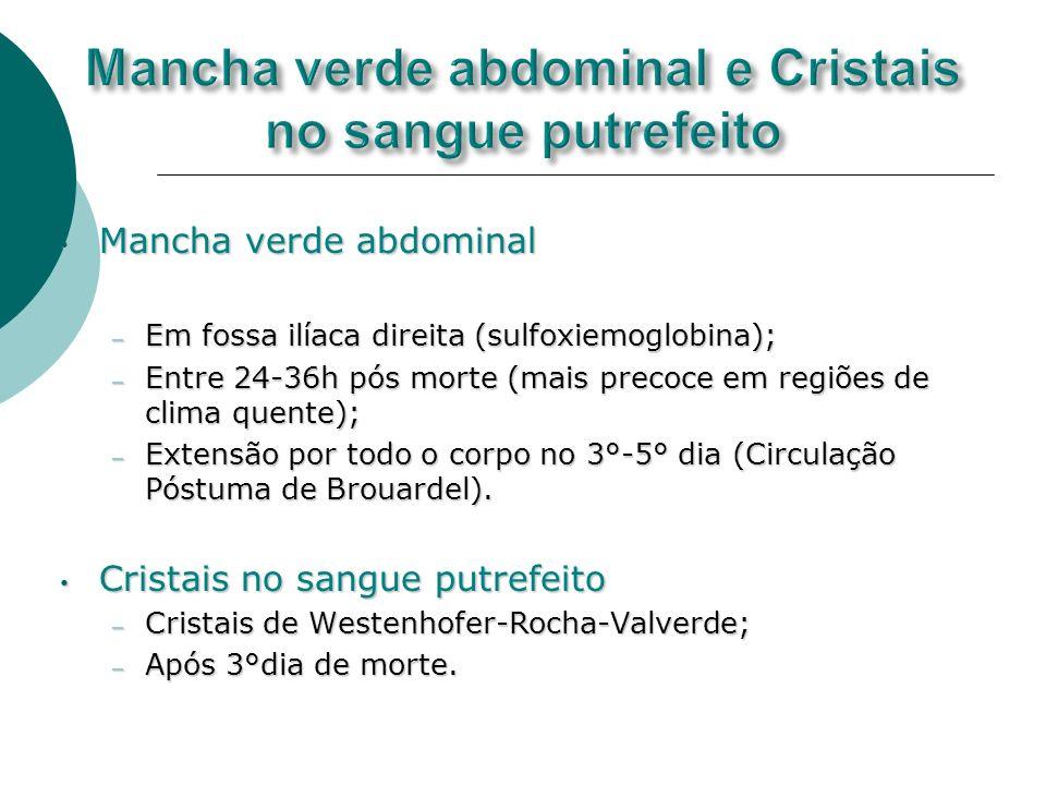 Mancha verde abdominal e Cristais no sangue putrefeito