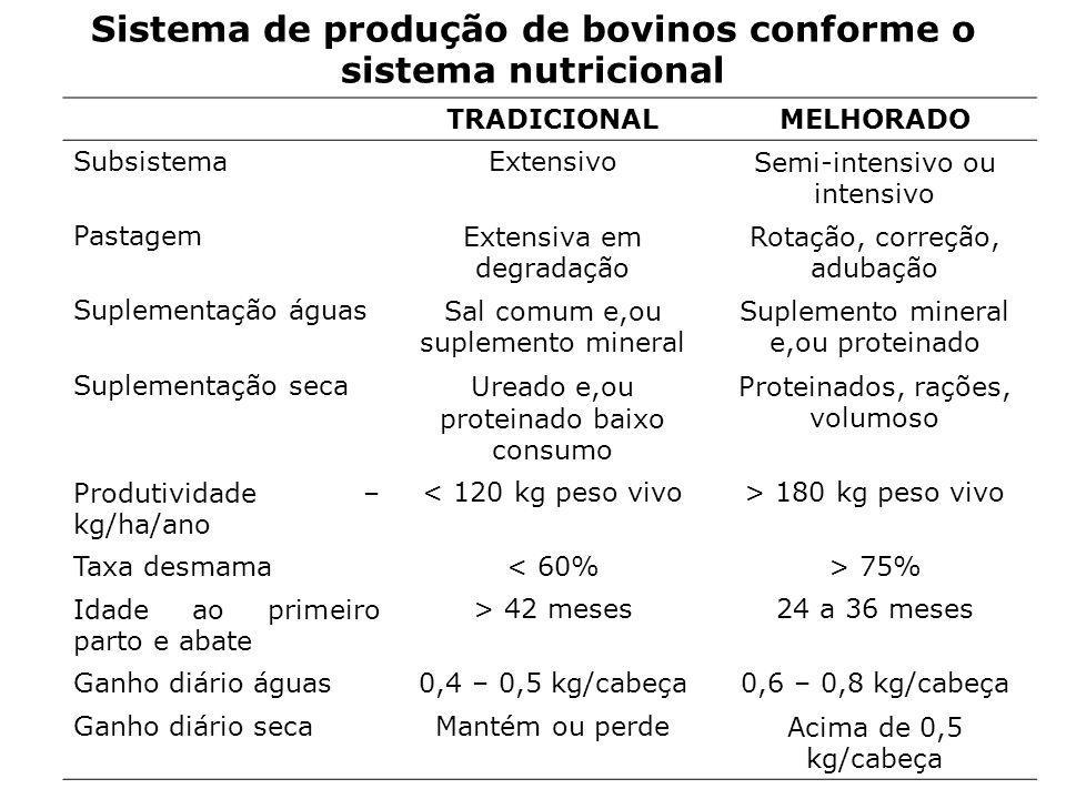 Sistema de produção de bovinos conforme o sistema nutricional