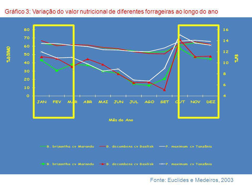 Gráfico 3: Variação do valor nutricional de diferentes forrageiras ao longo do ano