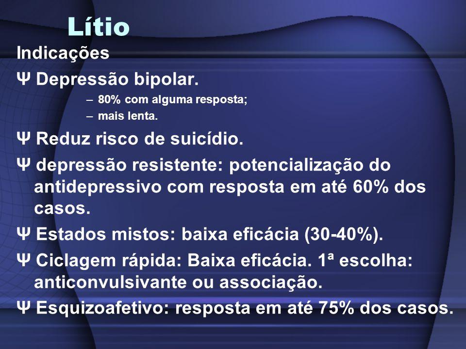 Lítio Indicações Ψ Depressão bipolar. Ψ Reduz risco de suicídio.