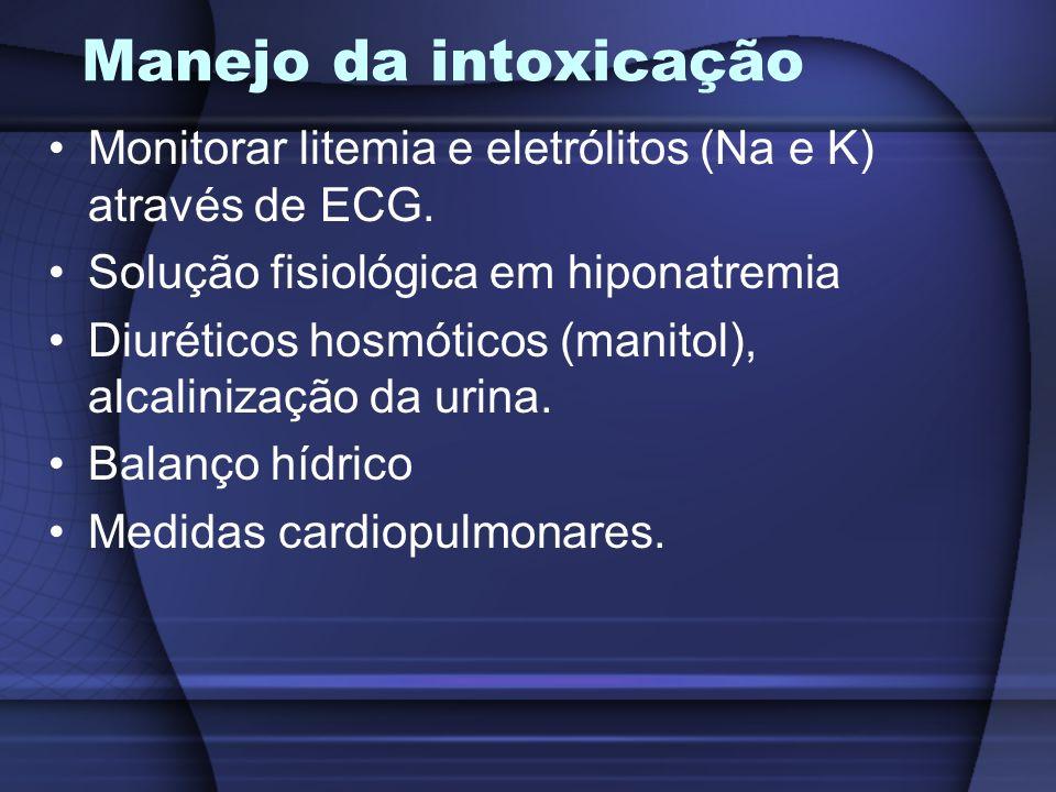 Manejo da intoxicação Monitorar litemia e eletrólitos (Na e K) através de ECG. Solução fisiológica em hiponatremia.