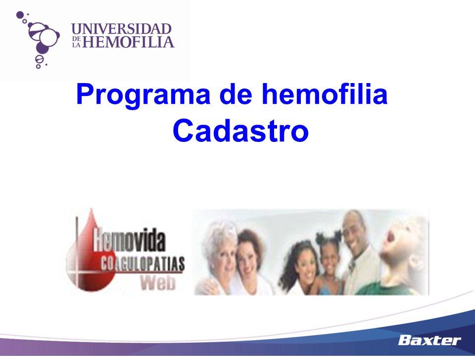 Programa de hemofilia Cadastro