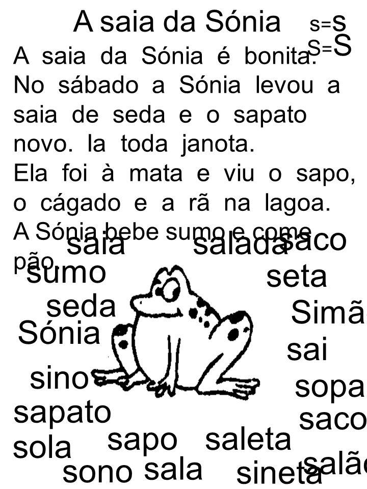 saco saia salada sumo seta seda Simão Sónia sai sino sopa sapato