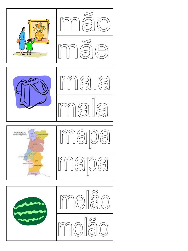 mãe mãe mala mala mapa mapa melão melão