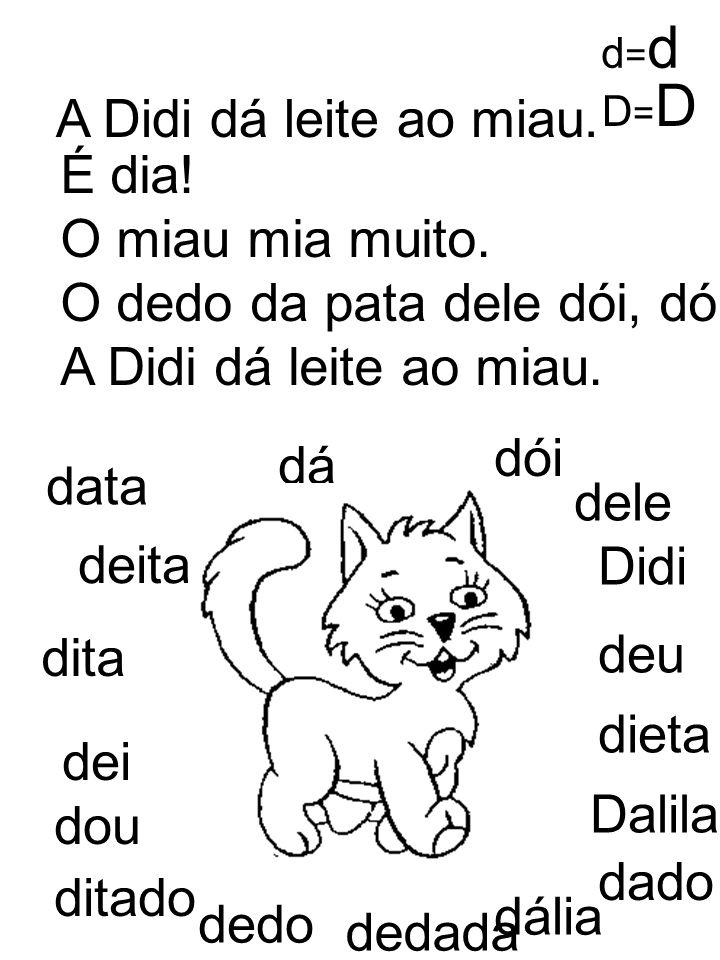 O dedo da pata dele dói, dói, dói. A Didi dá leite ao miau.