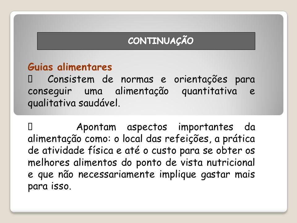 CONTINUAÇÃO Guias alimentares. Ø Consistem de normas e orientações para conseguir uma alimentação quantitativa e qualitativa saudável.