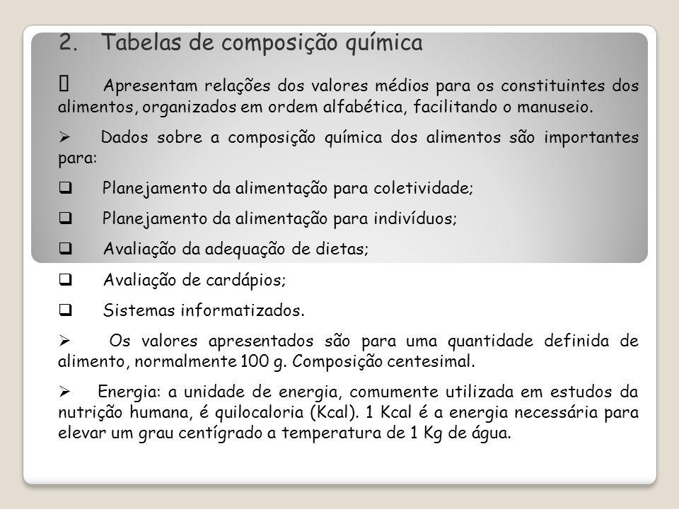 2. Tabelas de composição química