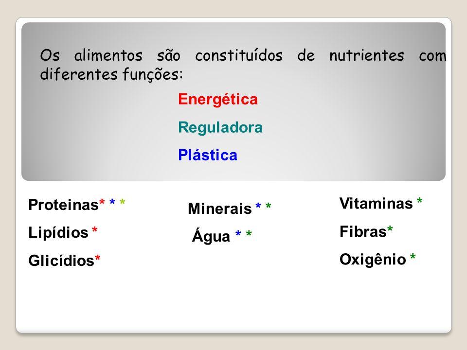 Os alimentos são constituídos de nutrientes com diferentes funções:
