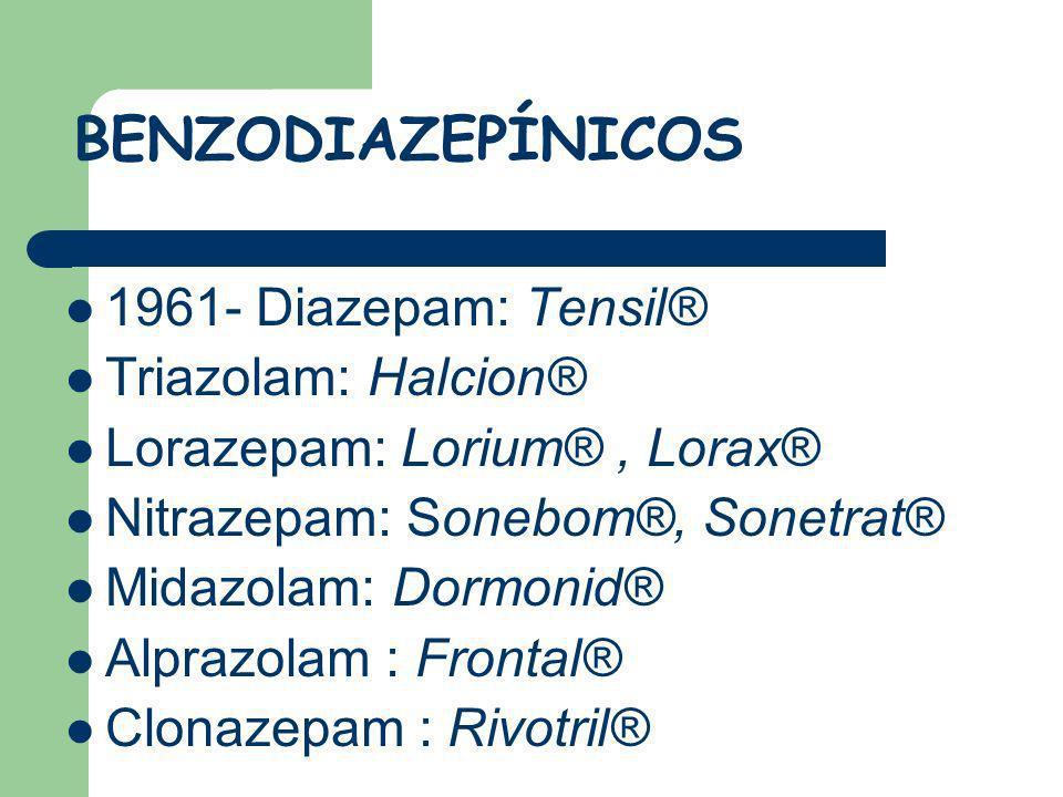 BENZODIAZEPÍNICOS 1961- Diazepam: Tensil® Triazolam: Halcion®