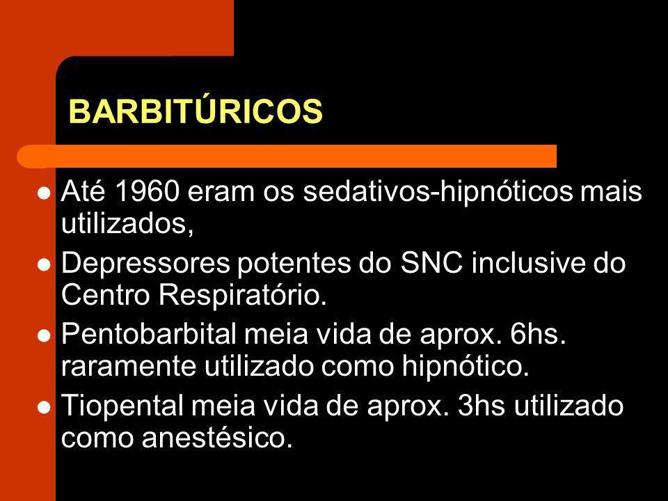 BARBITÚRICOS Até 1960 eram os sedativos-hipnóticos mais utilizados,