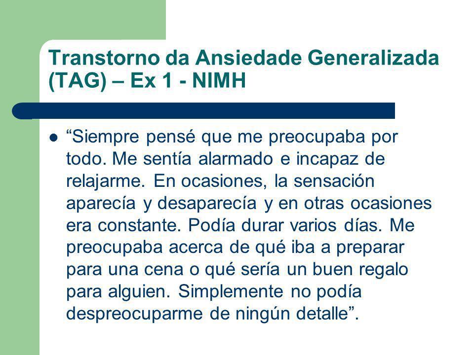 Transtorno da Ansiedade Generalizada (TAG) – Ex 1 - NIMH