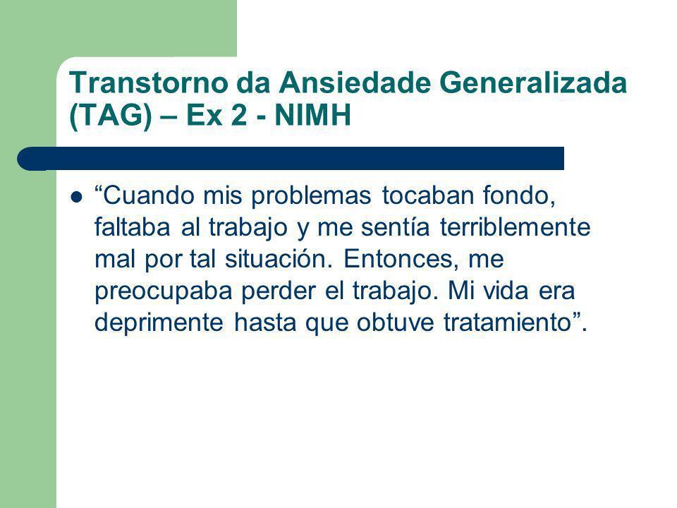 Transtorno da Ansiedade Generalizada (TAG) – Ex 2 - NIMH