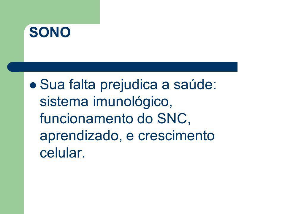 SONO Sua falta prejudica a saúde: sistema imunológico, funcionamento do SNC, aprendizado, e crescimento celular.
