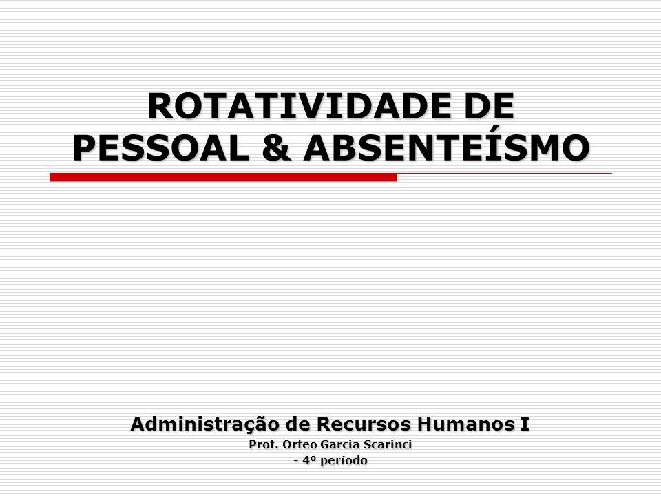 ROTATIVIDADE DE PESSOAL & ABSENTEÍSMO