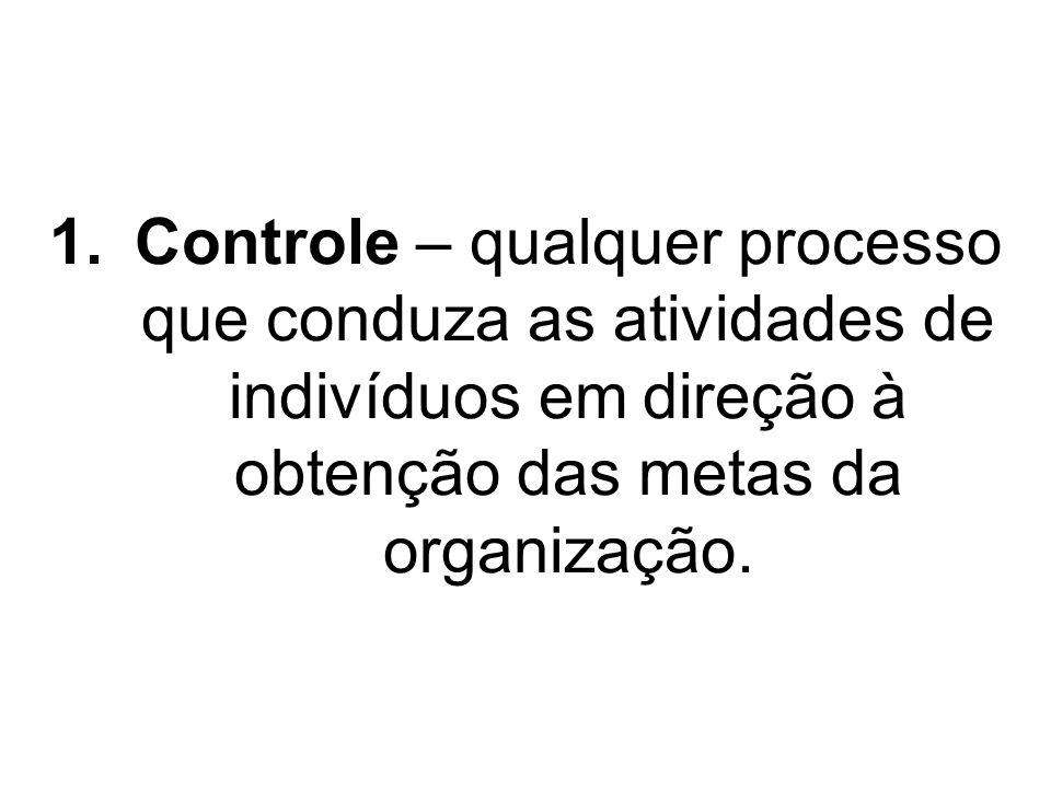 Controle – qualquer processo que conduza as atividades de indivíduos em direção à obtenção das metas da organização.