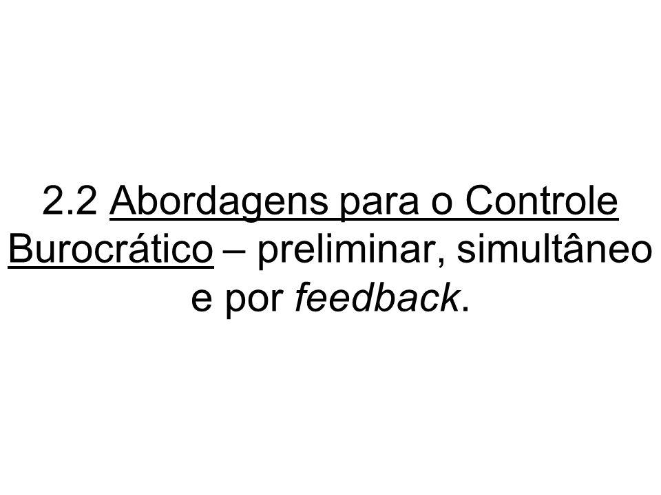 2.2 Abordagens para o Controle Burocrático – preliminar, simultâneo e por feedback.