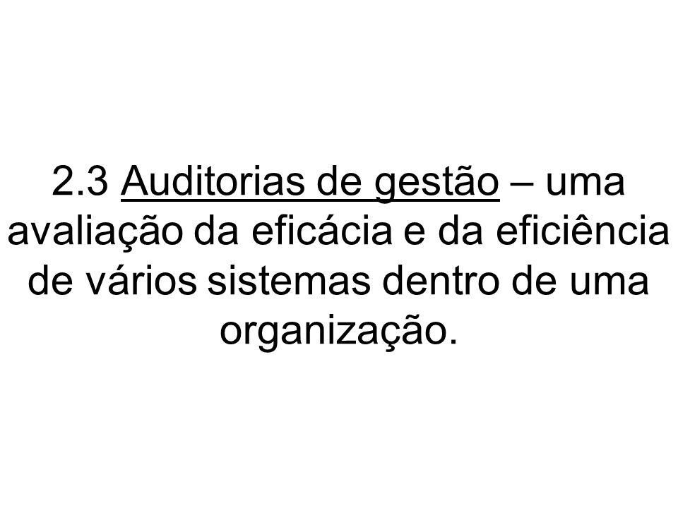 2.3 Auditorias de gestão – uma avaliação da eficácia e da eficiência de vários sistemas dentro de uma organização.