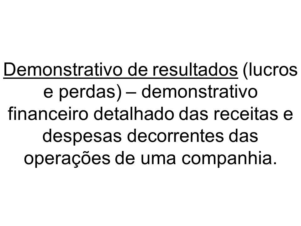 Demonstrativo de resultados (lucros e perdas) – demonstrativo financeiro detalhado das receitas e despesas decorrentes das operações de uma companhia.
