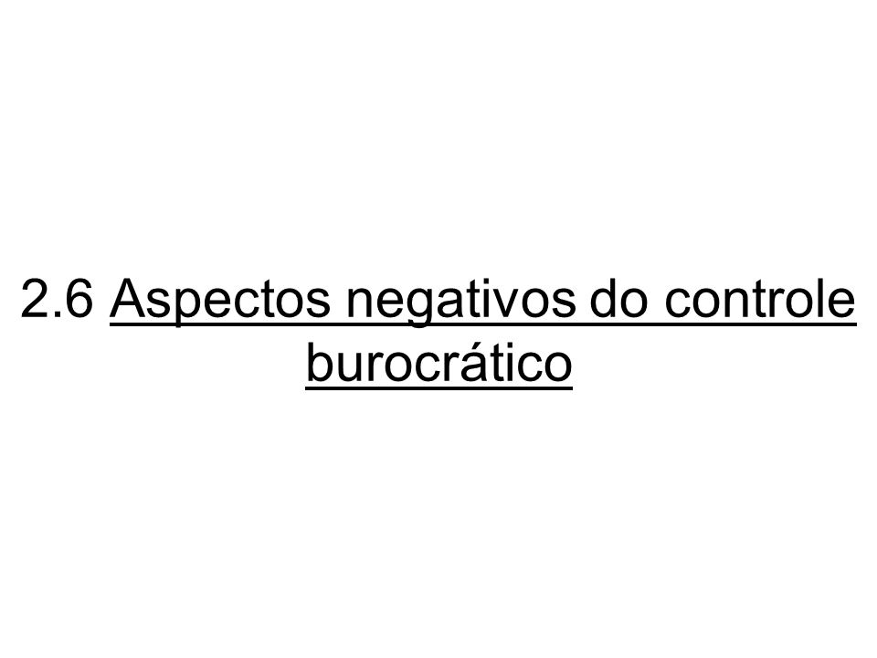 2.6 Aspectos negativos do controle burocrático