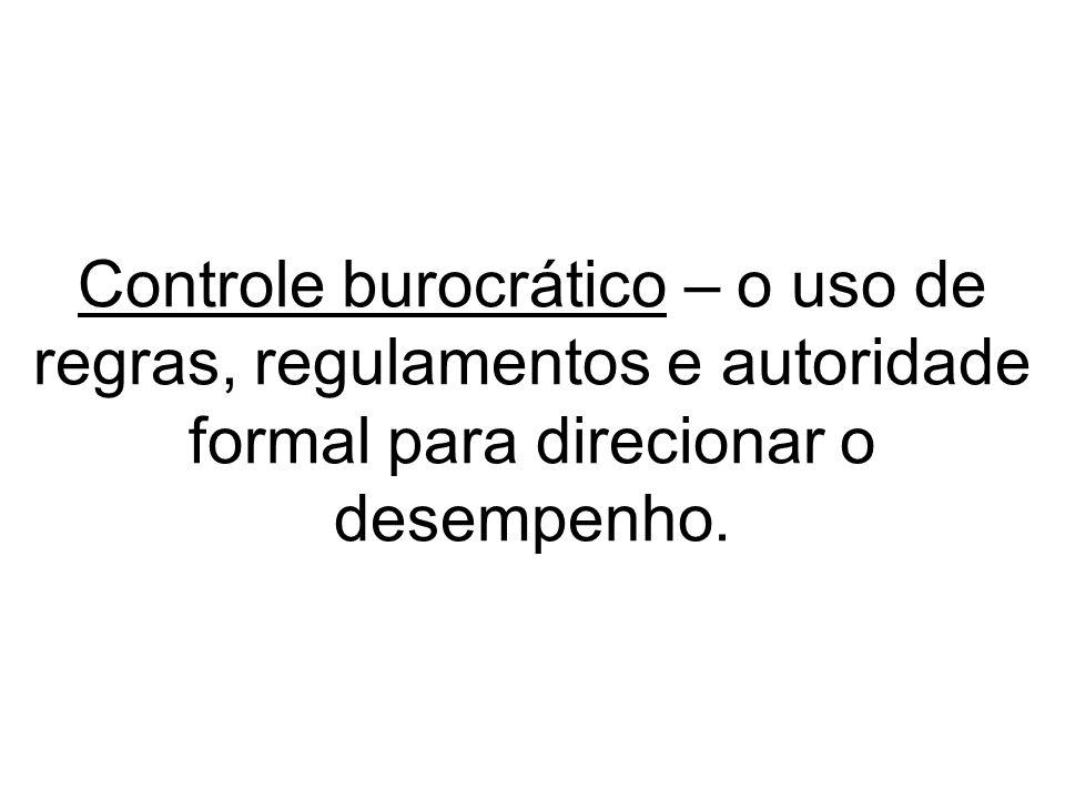 Controle burocrático – o uso de regras, regulamentos e autoridade formal para direcionar o desempenho.