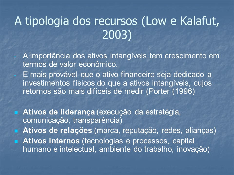 A tipologia dos recursos (Low e Kalafut, 2003)