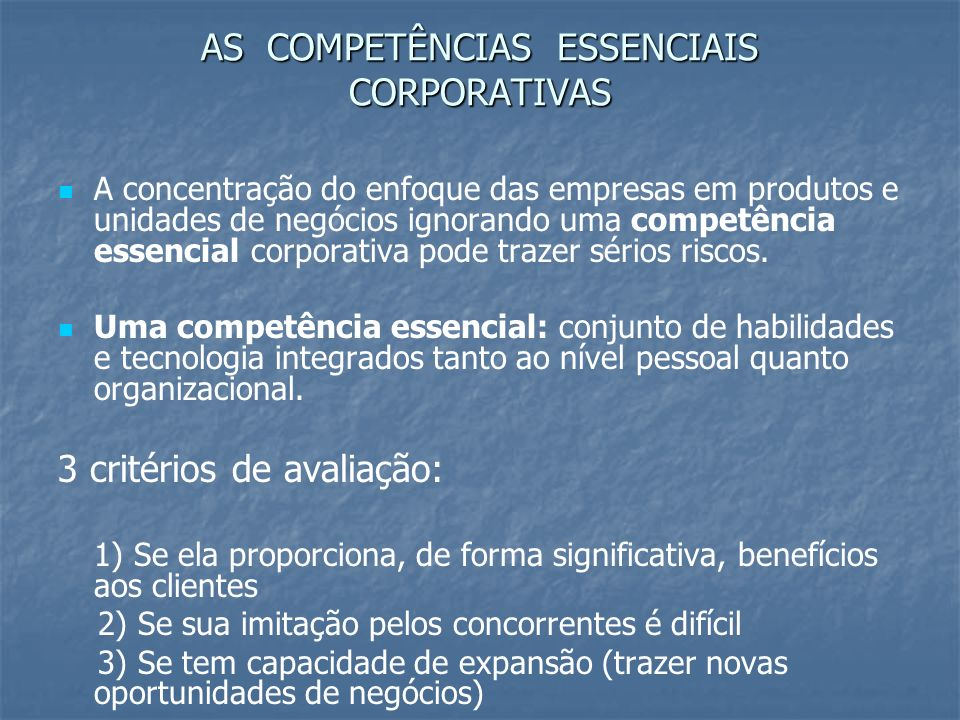 AS COMPETÊNCIAS ESSENCIAIS CORPORATIVAS