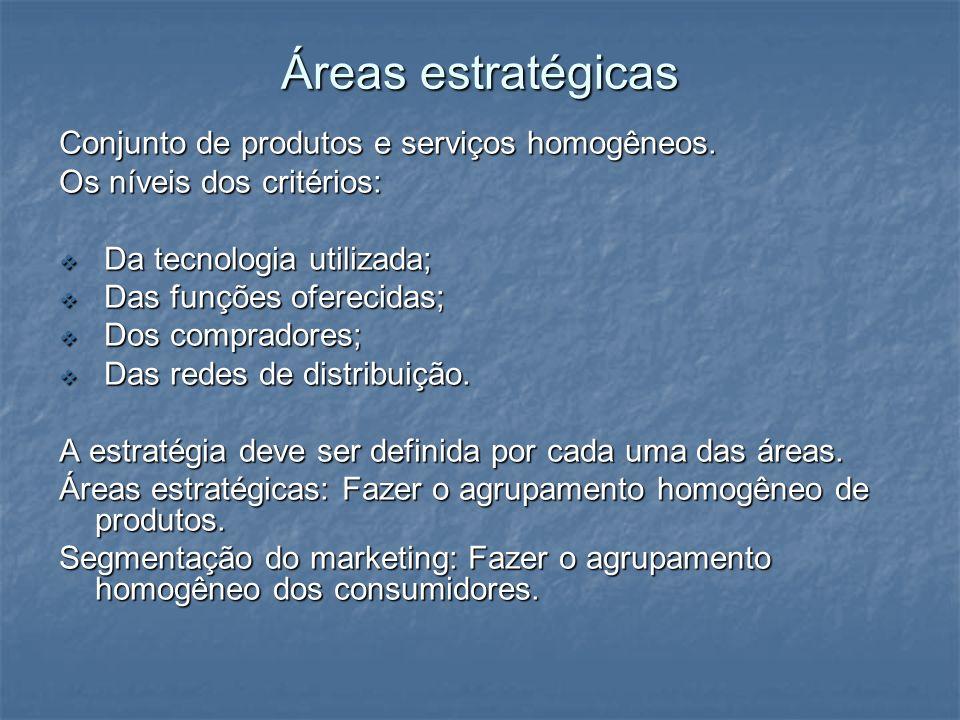 Áreas estratégicas Conjunto de produtos e serviços homogêneos.
