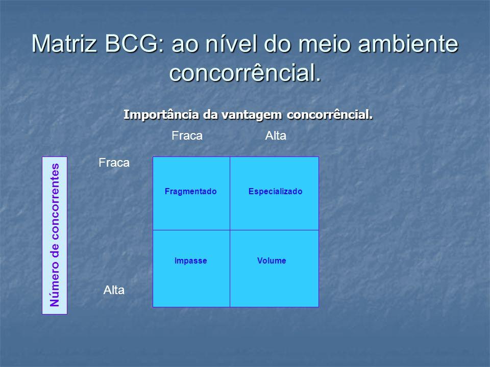 Matriz BCG: ao nível do meio ambiente concorrêncial.
