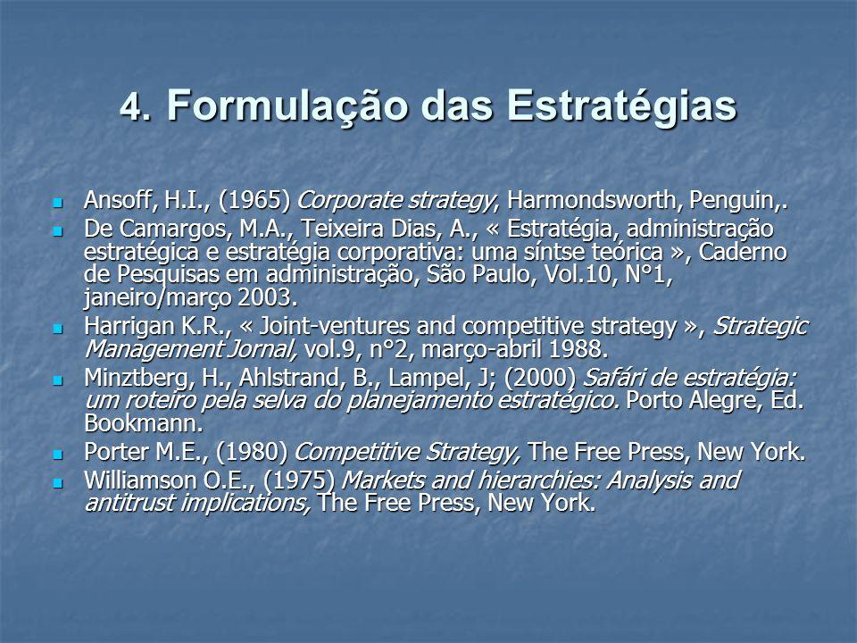 4. Formulação das Estratégias