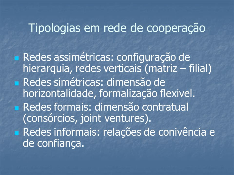 Tipologias em rede de cooperação