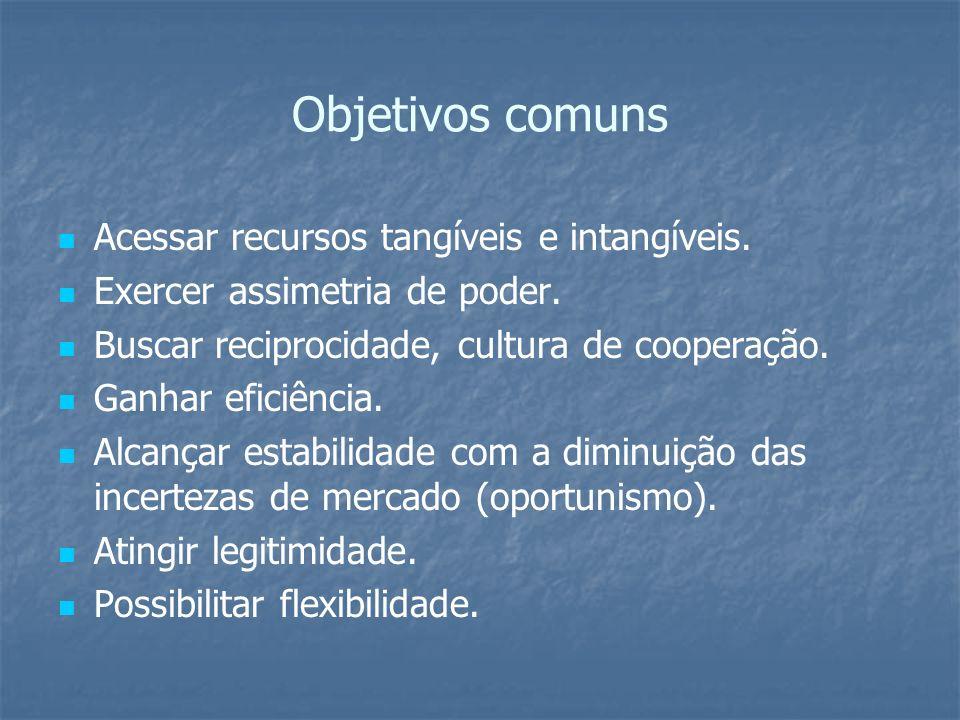 Objetivos comuns Acessar recursos tangíveis e intangíveis.