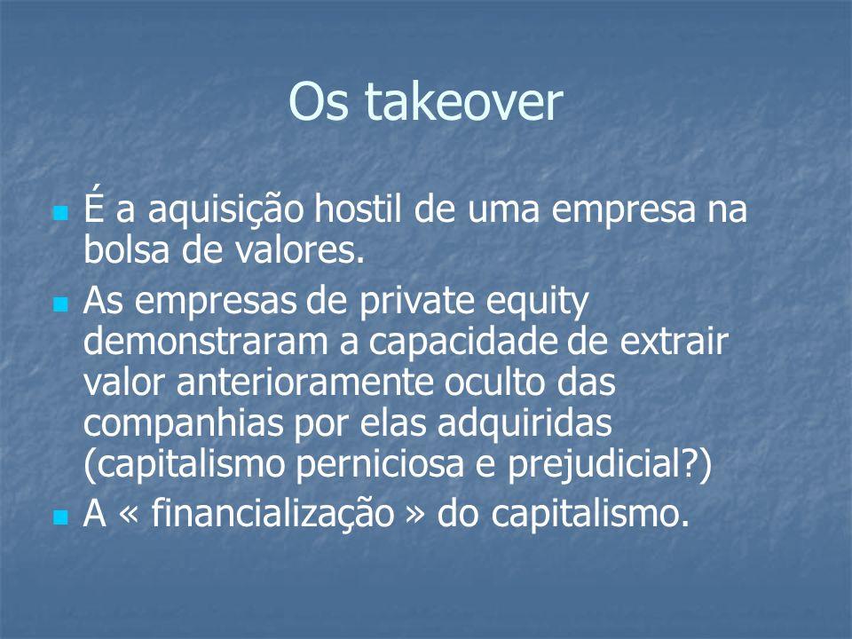 Os takeover É a aquisição hostil de uma empresa na bolsa de valores.