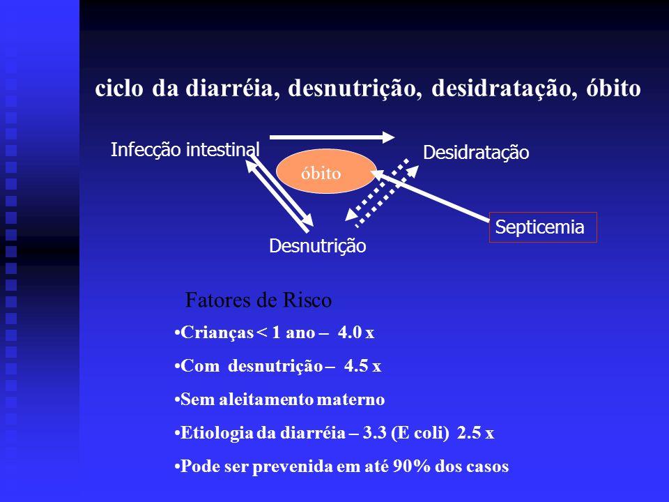 ciclo da diarréia, desnutrição, desidratação, óbito