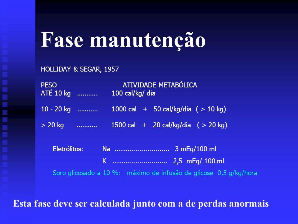 Fase manutenção HOLLIDAY & SEGAR, 1957. PESO ATIVIDADE METABÓLICA. ATÉ 10 kg ........... 100 cal/kg/ dia.