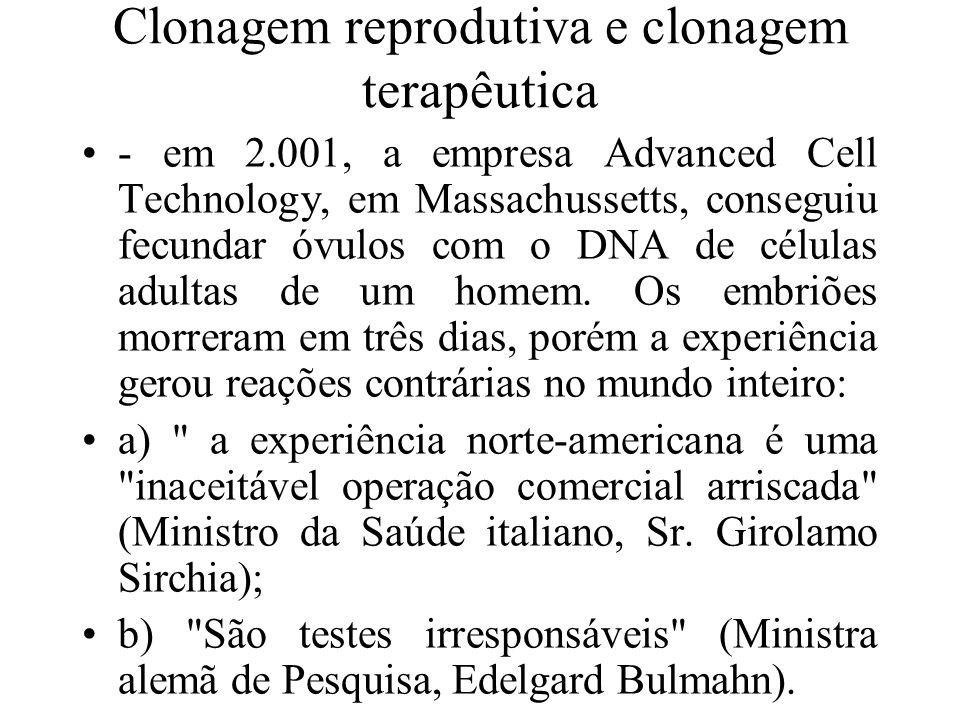 Clonagem reprodutiva e clonagem terapêutica