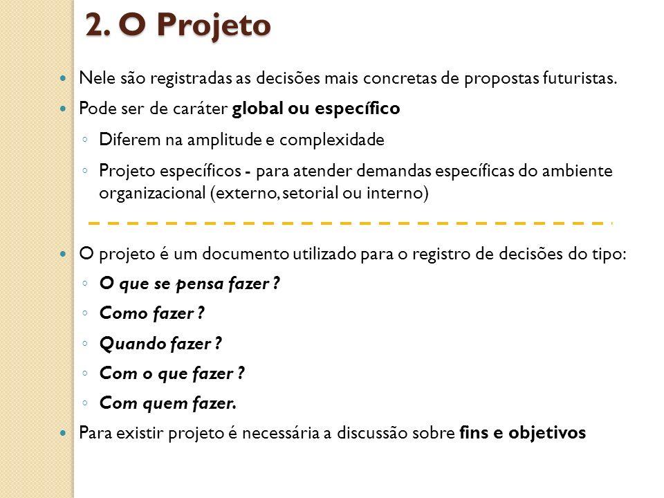 2. O Projeto Nele são registradas as decisões mais concretas de propostas futuristas. Pode ser de caráter global ou específico.