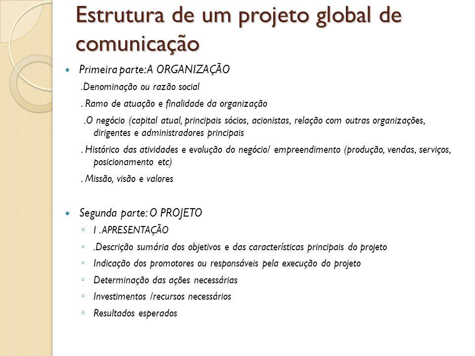 Estrutura de um projeto global de comunicação