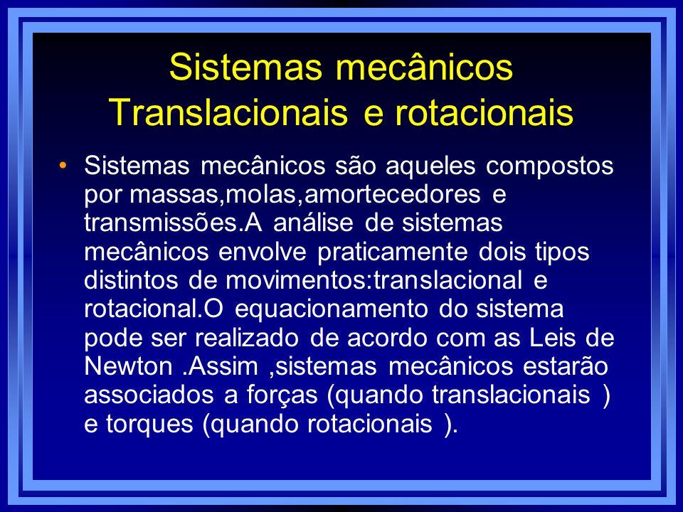 Sistemas mecânicos Translacionais e rotacionais