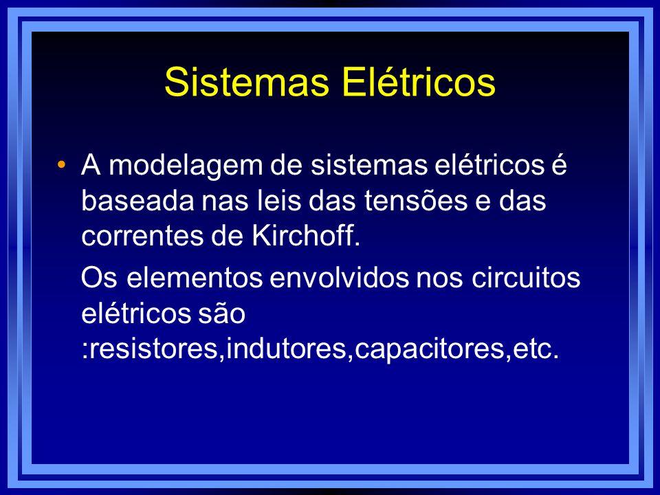Sistemas Elétricos A modelagem de sistemas elétricos é baseada nas leis das tensões e das correntes de Kirchoff.