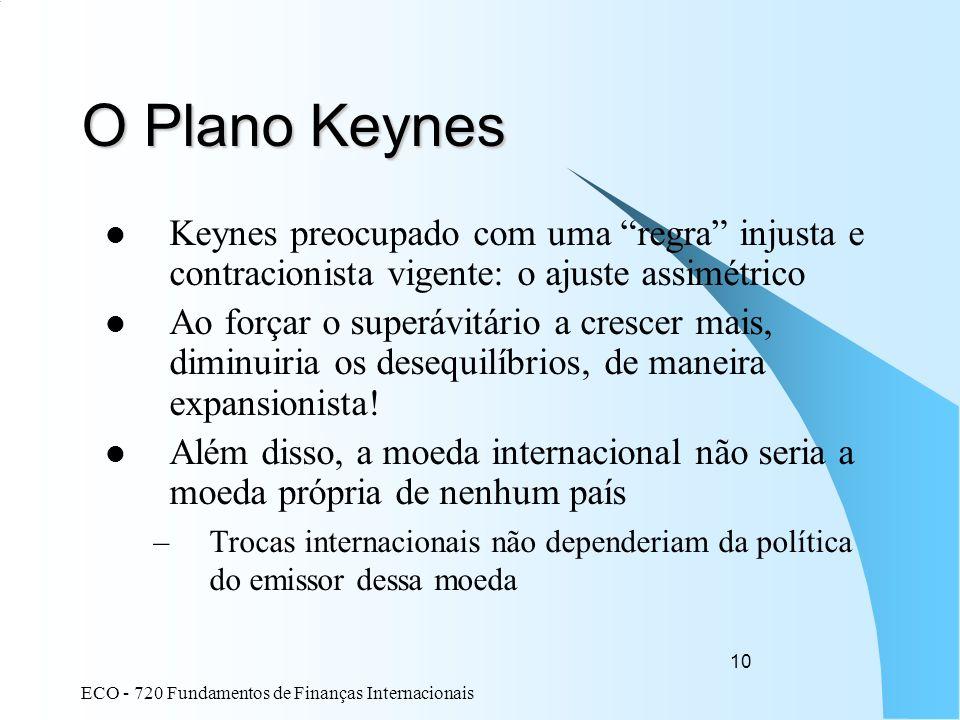 O Plano Keynes Keynes preocupado com uma regra injusta e contracionista vigente: o ajuste assimétrico.